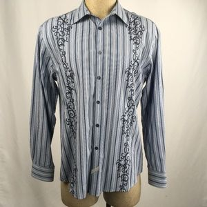 Marc Ecko Embroidered Button Front Shirt L